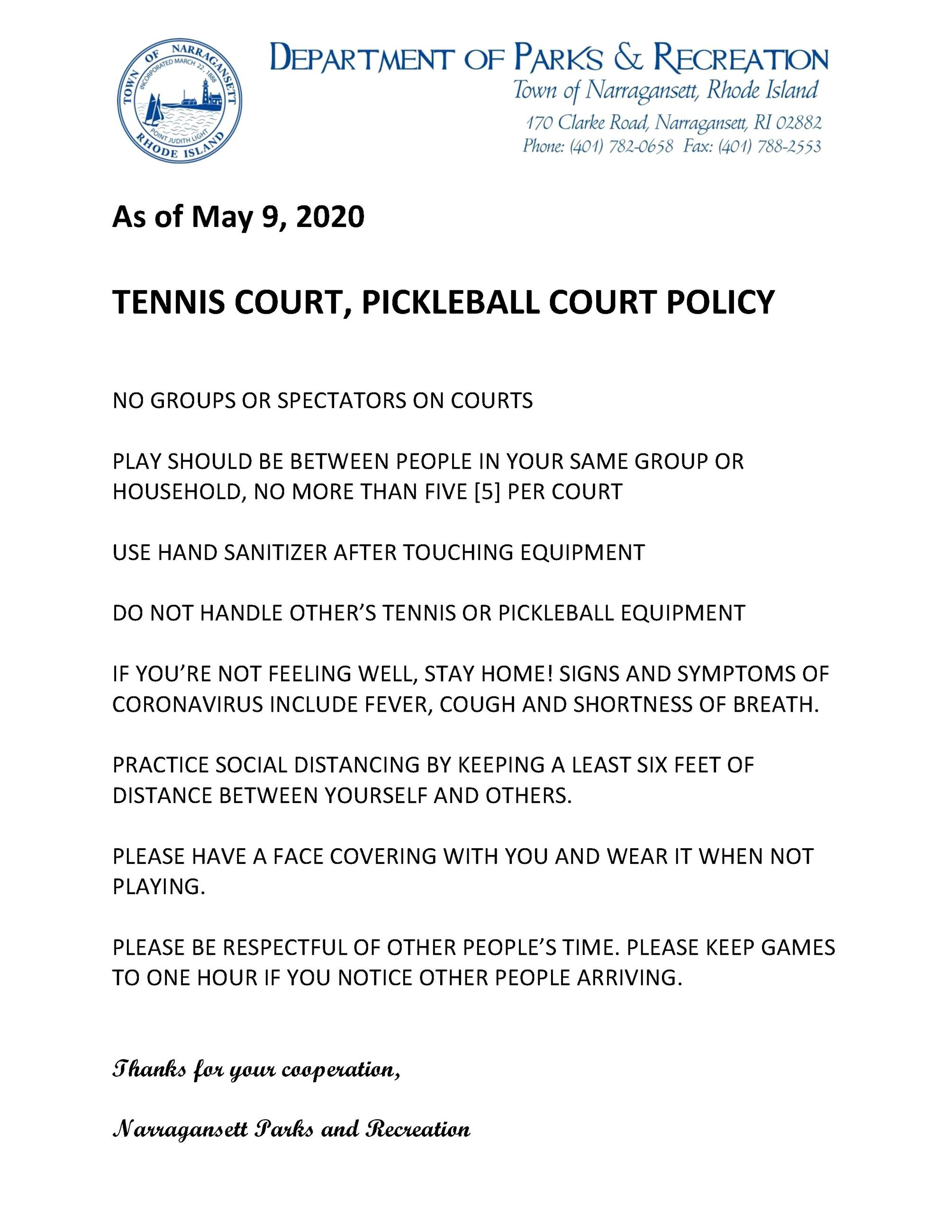 Tennis Court and Pickleball Court Policy 5.9.20